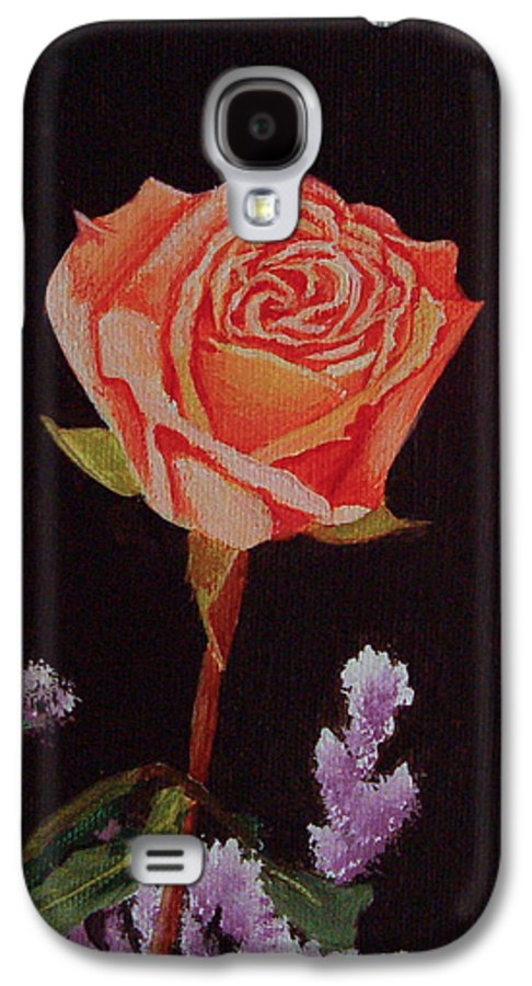 Rose Galaxy S4 Case featuring the painting Single Rose by Quwatha Valentine