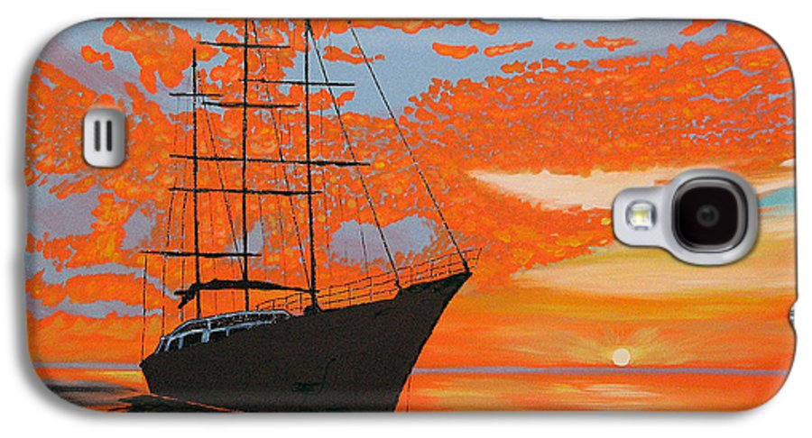 Seascape Galaxy S4 Case featuring the painting Sittin' On The Bay by Marco Morales