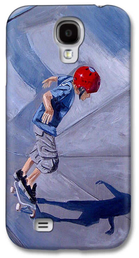 Boy Galaxy S4 Case featuring the painting Skateboarding by Quwatha Valentine