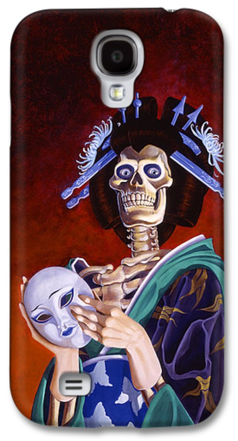 Skeleton Galaxy S4 Case featuring the painting Skeletal Geisha With Mask by Melissa A Benson
