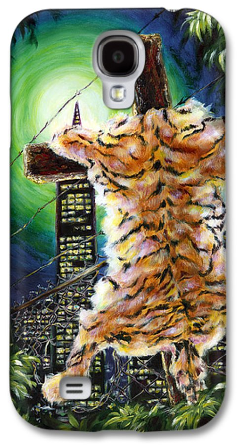 Tiger Galaxy S4 Case featuring the painting Slough... What I Have Left Behind The Fence To Survive In This Strange City by Hiroko Sakai