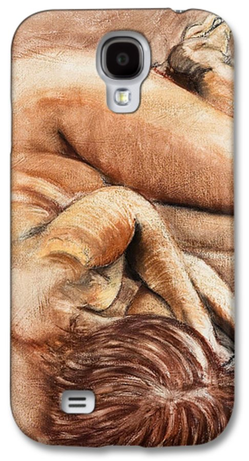 Nude Galaxy S4 Case featuring the drawing Slumber Pose by Kerryn Madsen-Pietsch