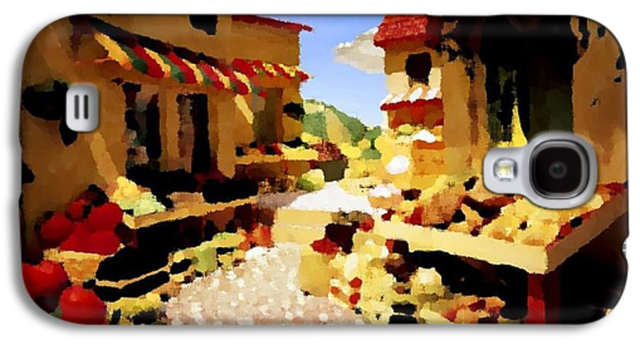 Market.town.street.road.houses.shadow.things For Sale.heat.rest.silence. Galaxy S4 Case featuring the digital art small urban market on Capri island by Dr Loifer Vladimir