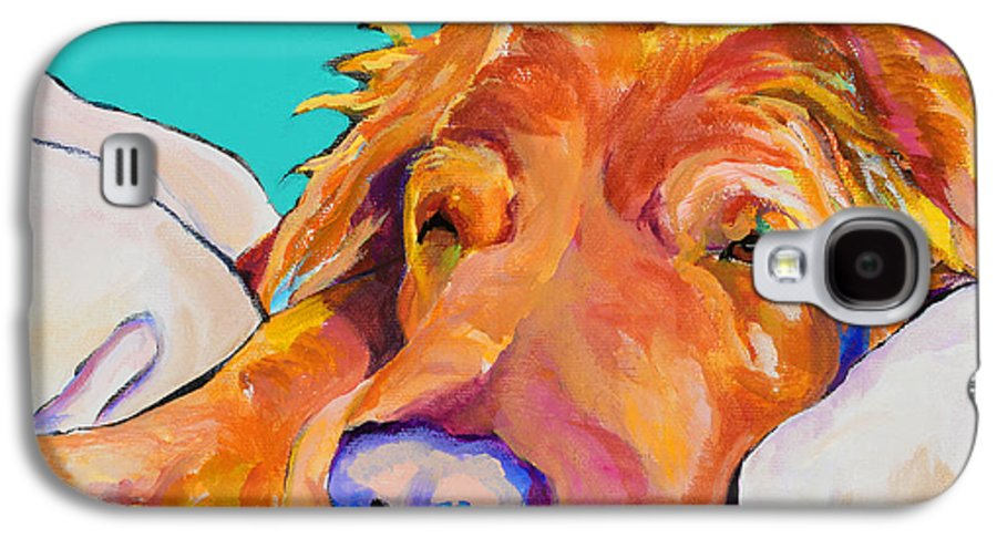 Dog Poortraits Galaxy S4 Case featuring the painting Snoozer King by Pat Saunders-White