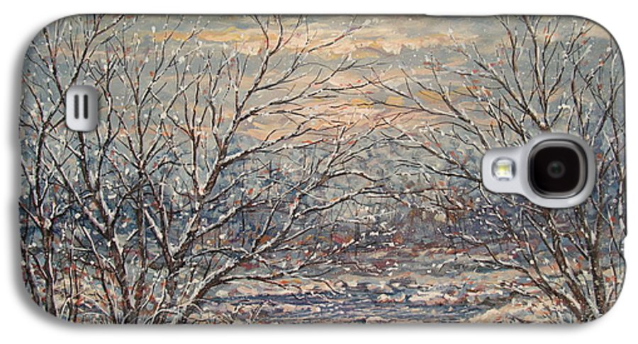 Landscape Galaxy S4 Case featuring the painting Snow By Brook. by Leonard Holland