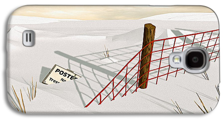 Snow Galaxy S4 Case featuring the painting Snow Fence by Peter J Sucy