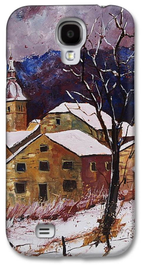 Landscape Galaxy S4 Case featuring the painting Snow In Chassepierre by Pol Ledent