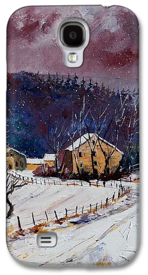 Landscape Galaxy S4 Case featuring the painting Snow In Sechery by Pol Ledent