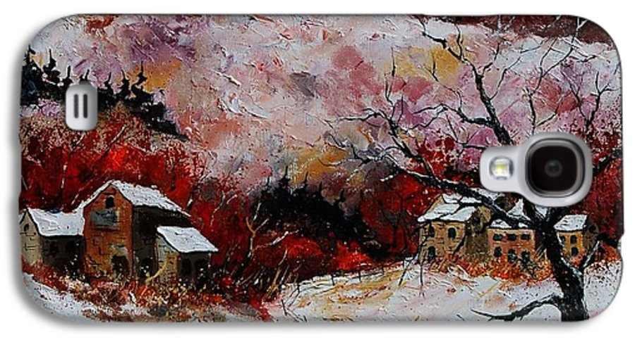 Snow Galaxy S4 Case featuring the painting Snow In The Ardennes 78 by Pol Ledent