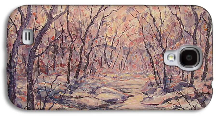 Landscape Galaxy S4 Case featuring the painting Snow In The Woods. by Leonard Holland