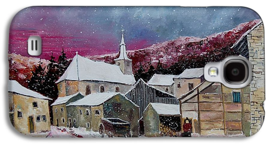 Snow Galaxy S4 Case featuring the painting Snow Is Falling by Pol Ledent
