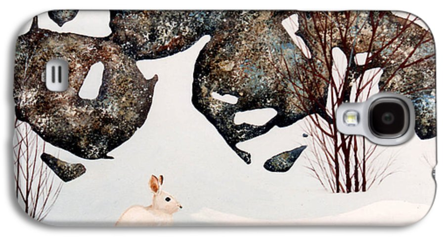 Wildlife Galaxy S4 Case featuring the painting Snow Ledges Rabbit by Frank Wilson