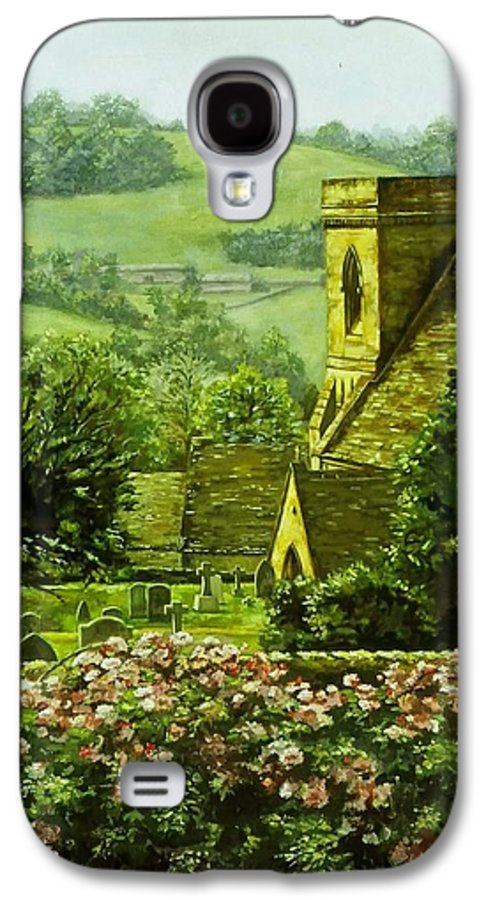 Landscape Church Galaxy S4 Case featuring the painting Snowshill by Ruth Stromswold