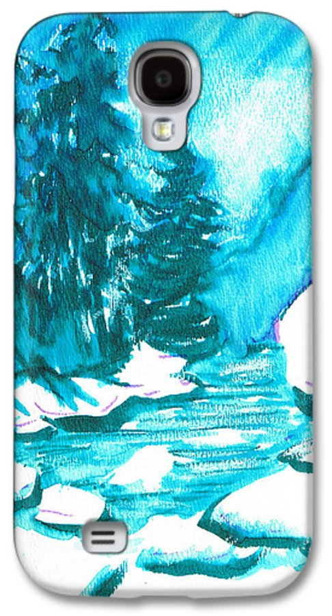 Chilling Galaxy S4 Case featuring the mixed media Snowy Creek Banks by Seth Weaver