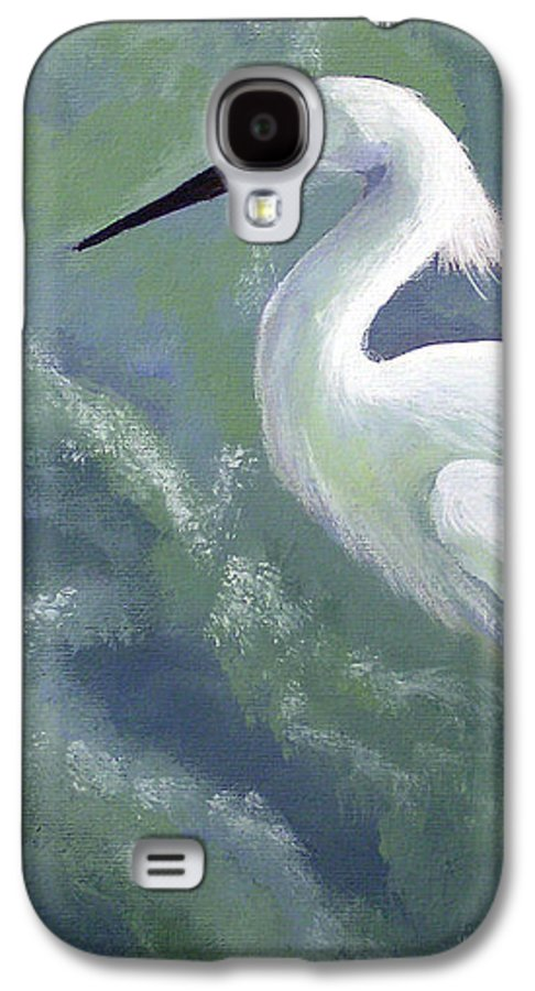 Egret Galaxy S4 Case featuring the painting Snowy Egret In Water by Adam Johnson