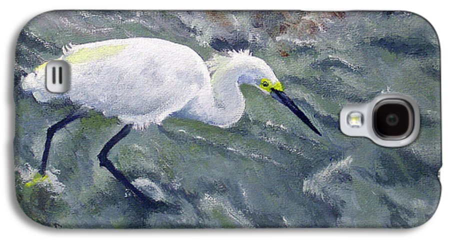 Egret Galaxy S4 Case featuring the painting Snowy Egret Near Jetty Rock by Adam Johnson