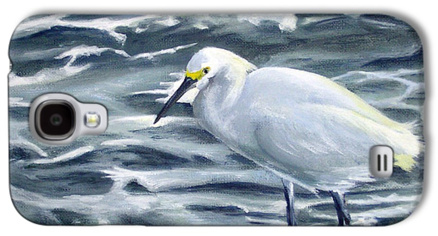 Egret Galaxy S4 Case featuring the painting Snowy Egret On Jetty Rock by Adam Johnson
