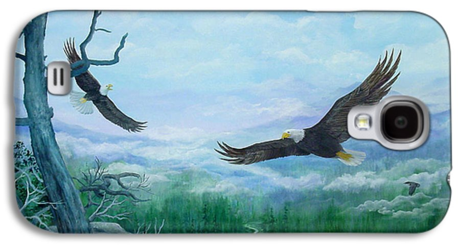 Eagles;birds;river Valley;mountains;sky; Galaxy S4 Case featuring the painting Soaring by Lois Mountz