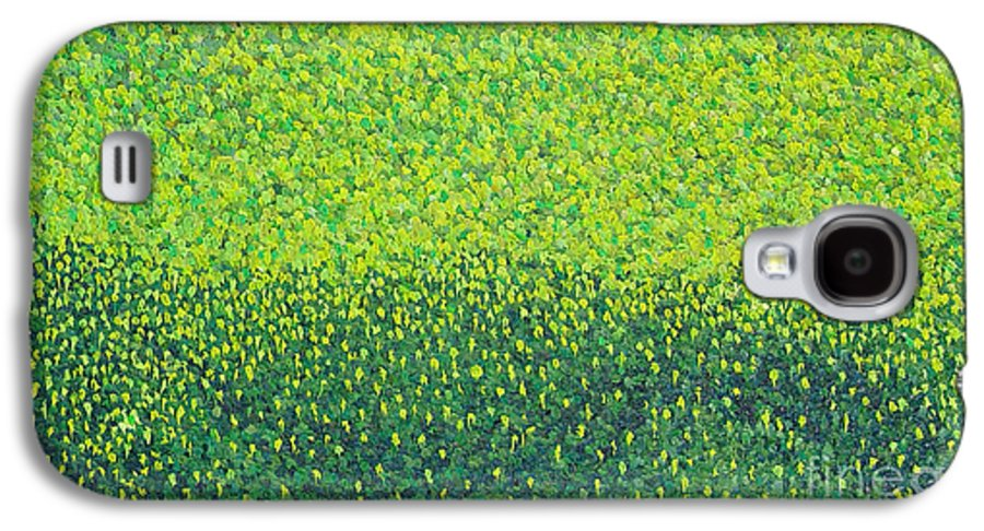 Abstract Galaxy S4 Case featuring the painting Soft Green Wet Trees by Dean Triolo
