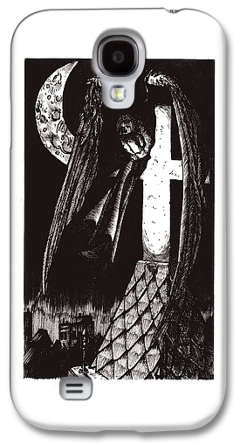 Angel Galaxy S4 Case featuring the drawing Solemn Vigil by Tobey Anderson