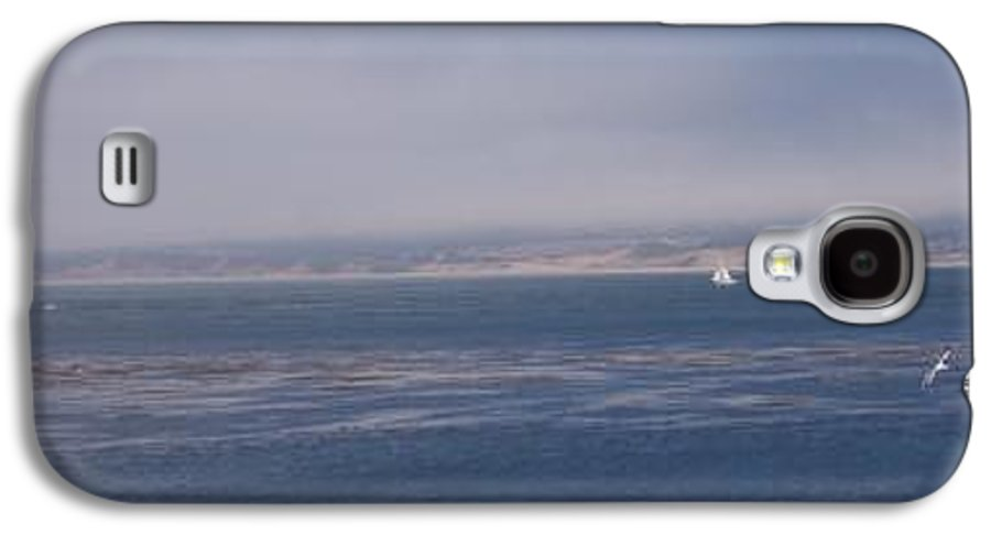 Sailing Outdoors Sail Ocean Monterey Bay Sea Seascape Boat Shoreline Sky Pacific Nature California Galaxy S4 Case featuring the photograph Solo Sail In Monterey Bay by Pharris Art