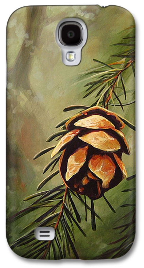 Closeup Of Spruce Cone Galaxy S4 Case featuring the painting Solstice by Hunter Jay