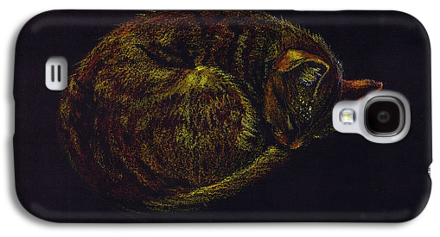 A Cat Soundly Asleep-oil Pastel Galaxy S4 Case featuring the painting Sound Asleep II by Mui-Joo Wee