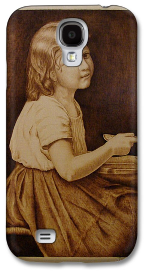 Portrait; Soup; Stool; Spoon; Sepia; Skirt; Galaxy S4 Case featuring the pyrography Soup by Jo Schwartz