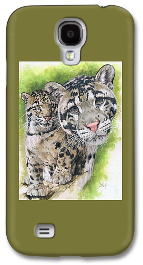 Clouded Leopard Galaxy S4 Case featuring the mixed media Sovereignty by Barbara Keith