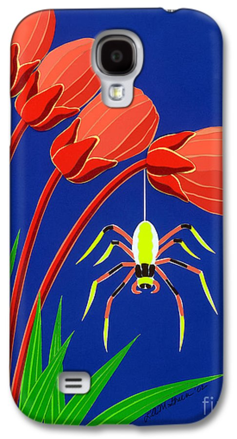 Nature Galaxy S4 Case featuring the drawing Spider by Lucyna A M Green