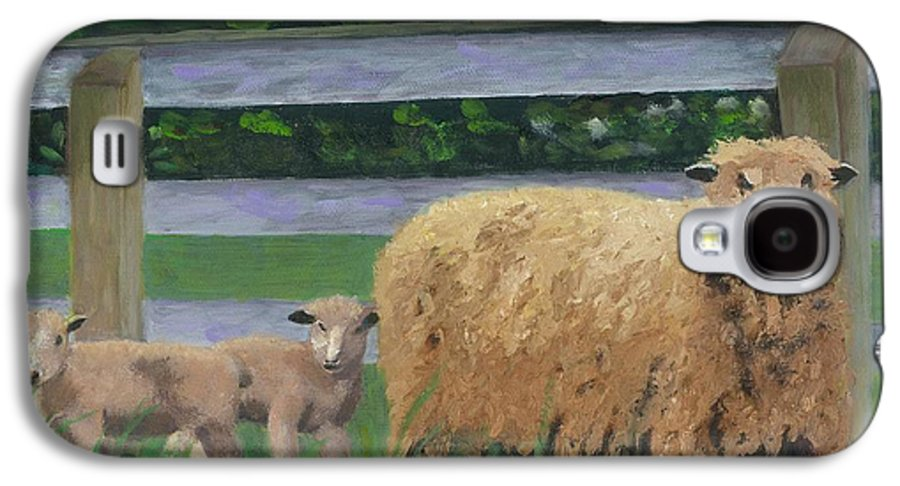 Sheep Lambs Countryside Farm Spring Galaxy S4 Case featuring the painting Sping Lambs by Paula Emery
