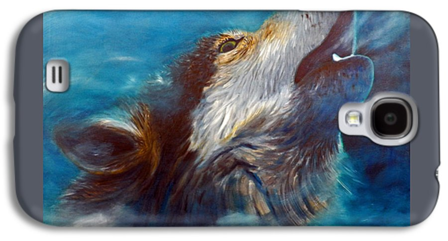 Wolf Galaxy S4 Case featuring the painting Spirit Of The Wolf by Brian Commerford