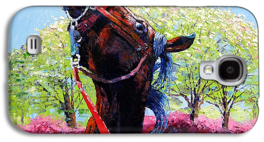 Horse Galaxy S4 Case featuring the painting Spring Fever by John Lautermilch