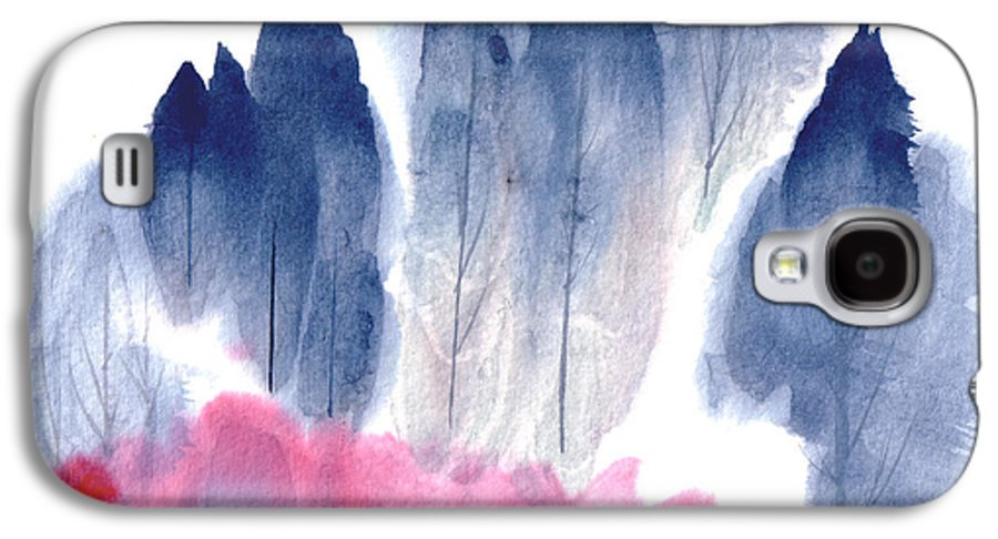 A Forest With Red Blooming Bushes In Spring. This Is A Contemporary Chinese Ink And Color On Rice Paper Painting With Simple Zen Style Brush Strokes.  Galaxy S4 Case featuring the painting Spring Forest by Mui-Joo Wee