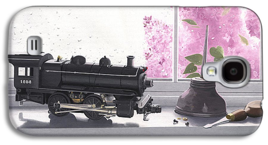 Lionel Galaxy S4 Case featuring the painting Spring Rain Electric Train by Gary Giacomelli