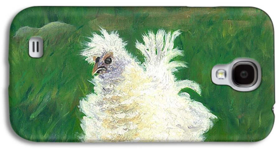 Bantam Frizzle Farmscene Chickens Hen Bird Nature Animals Spring Freerangers Galaxy S4 Case featuring the painting Squiggle by Paula Emery