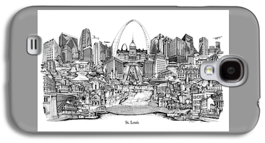 City Drawing Galaxy S4 Case featuring the drawing St. Louis 4 by Dennis Bivens