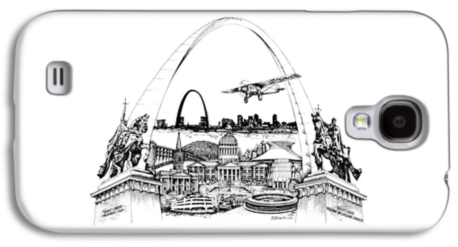 City Drawing Galaxy S4 Case featuring the drawing St. Louis Highlights Version 1 by Dennis Bivens