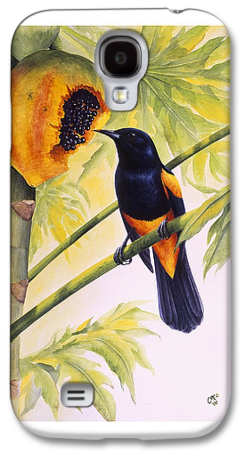 Chris Cox Galaxy S4 Case featuring the painting St. Lucia Oriole And Papaya by Christopher Cox
