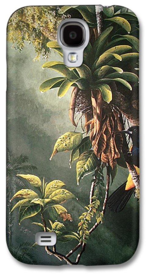 Chris Cox Galaxy S4 Case featuring the painting St. Lucia Oriole In Bromeliads by Christopher Cox