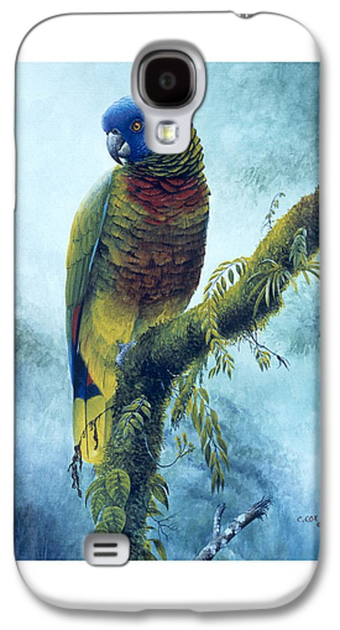 Chris Cox Galaxy S4 Case featuring the painting St. Lucia Parrot - Majestic by Christopher Cox