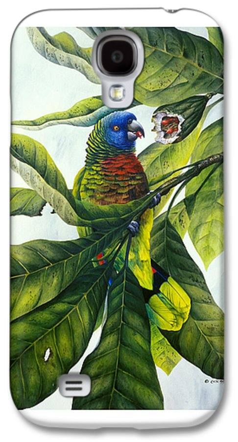 Chris Cox Galaxy S4 Case featuring the painting St. Lucia Parrot And Fruit by Christopher Cox
