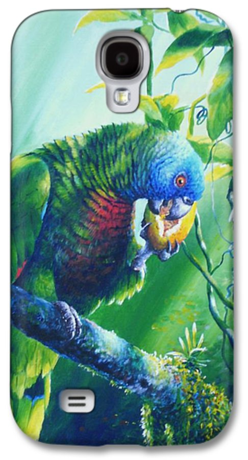 Chris Cox Galaxy S4 Case featuring the painting St. Lucia Parrot And Wild Passionfruit by Christopher Cox