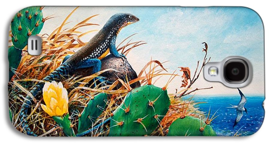 Chris Cox Galaxy S4 Case featuring the painting St. Lucia Whiptail by Christopher Cox