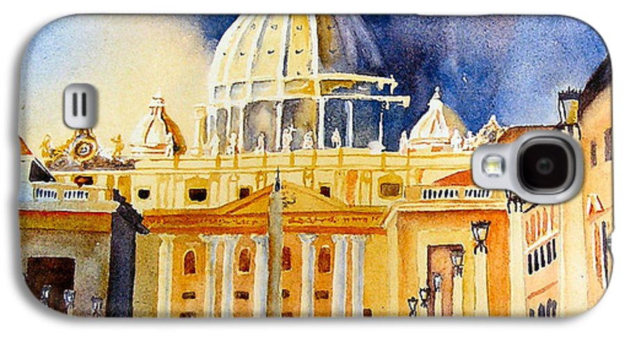 Vatican Galaxy S4 Case featuring the painting St. Peters Basilica by Karen Stark