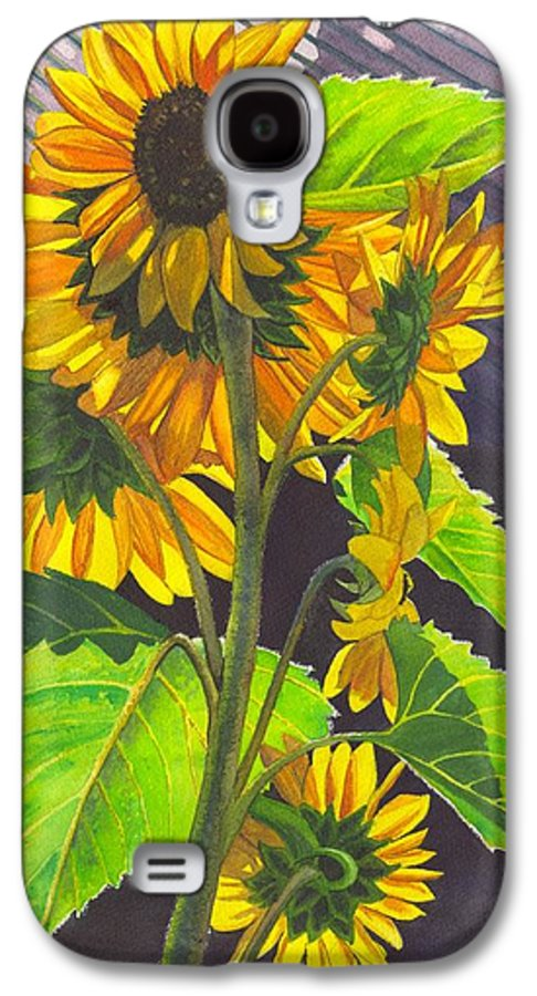 Sunflowers Galaxy S4 Case featuring the painting Stalk Of Sunflowers by Catherine G McElroy