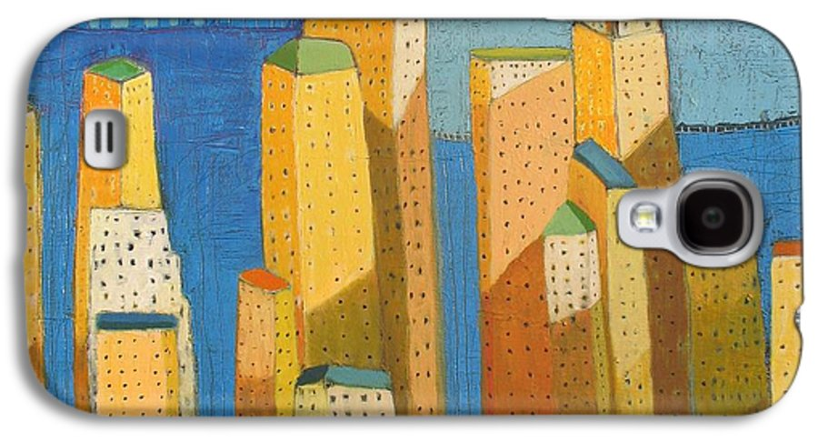 Abstract Cityscape Galaxy S4 Case featuring the painting Standing High by Habib Ayat