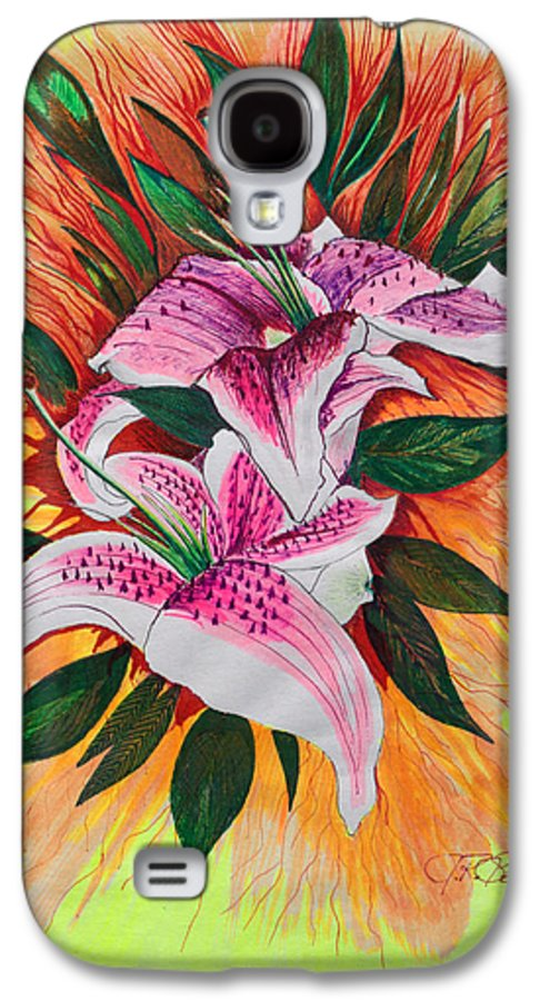 Flowers Galaxy S4 Case featuring the drawing Stargazers by J R Seymour