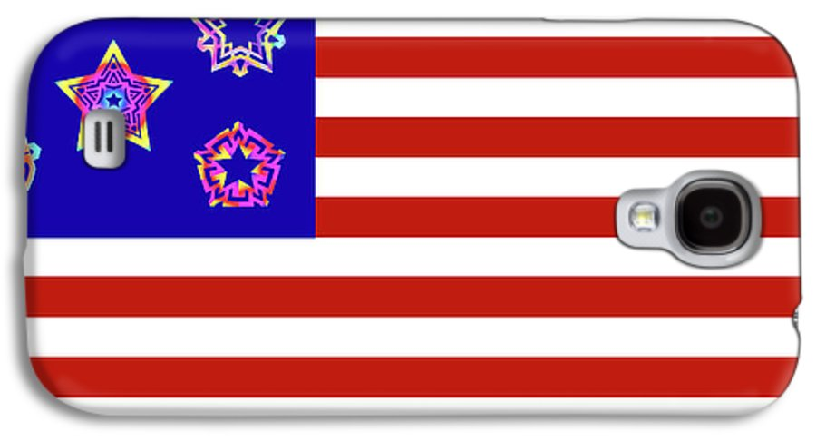 Pentacle Galaxy S4 Case featuring the digital art Stars And Stripes Of Retrocollage by Eric Edelman