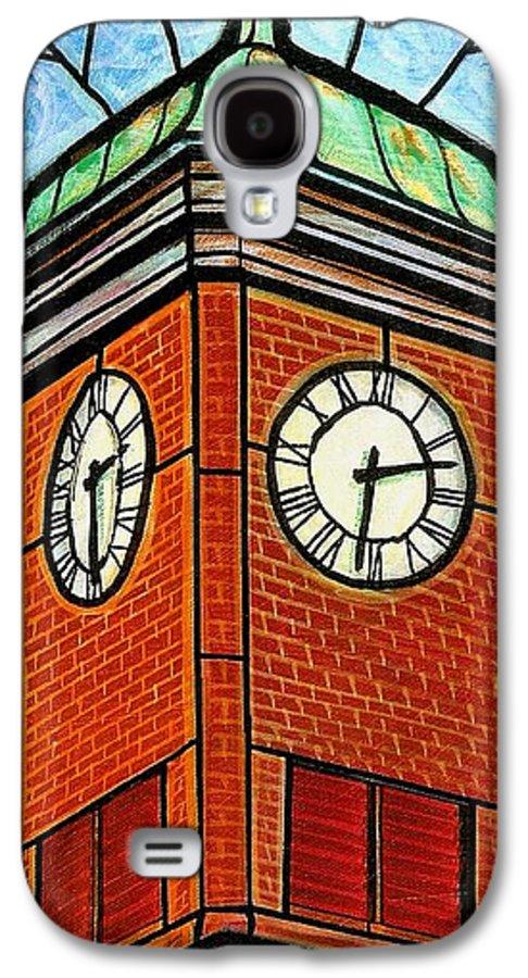 Clocks Galaxy S4 Case featuring the painting Staunton Clock Tower Landmark by Jim Harris